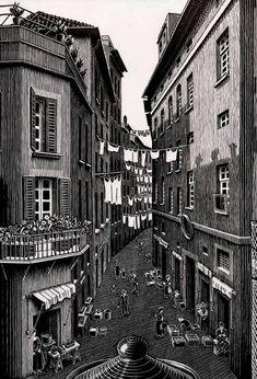 Still Life and Street (detail), by MC Escher, March 1937. Woodcut
