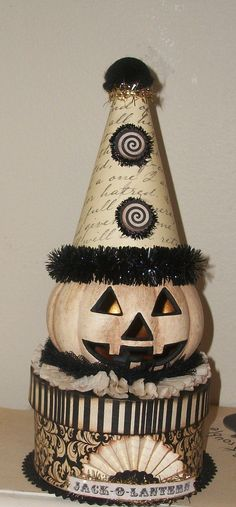 JackOLantern Altered Art Light Up Mixed Media by craftycathy2003, $24.99