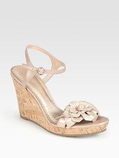25b7c8b37278 Jack Rogers - Metallic Flower-Embellished Leather Wedge Sandals
