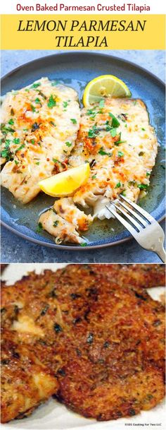 Easy Oven Baked Parmesan Crusted Tilapia from 101 Cooking For Two Talipia Recipes, Parmesan Crusted Tilapia, Blackened Tilapia, Cooking For Two, Oven Baked, Salmon Burgers, Baking Recipes, Ethnic Recipes, Recipes