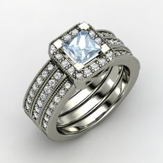 Princess Aquamarine 14K White Gold Ring with Diamond - Va Voom Ring | Gemvara