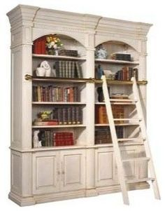 Bookcase design for beside fireplace Bordeaux Double Library Unit with Ladder traditional bookcases cabinets and computer