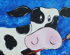 Cute cow Would be a great rodeo with spots painted different colors as if it dripped paint on itself Cow Painting, Painting For Kids, Art For Kids, Children Painting, Ceramic Painting, Cow Drawing, Kindergarten, Cartoon Cow, School Murals