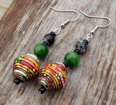 Bold Jamaican Cereal Box Bead Earrings by DescendingDoveDesign