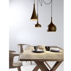 Please excuse us while we mentally re-design our dining rooms using this stunning triple pendant light in matte brown and copper. Search 'Custom Lighting' at http://ift.tt/1v9jaEU for details. #wecandream #lighting #theblockshop