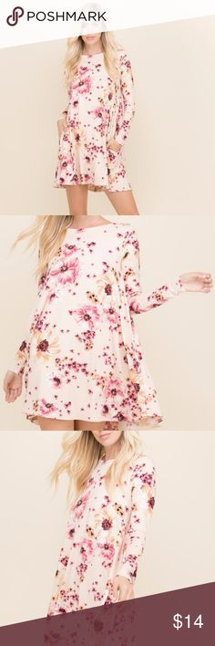 Arriving!  Ivory Floral Long Sleeve Mini Dress Made right here in the US, the dress is made of high quality material and will brighten any day. Jeve Boutique Dresses Mini