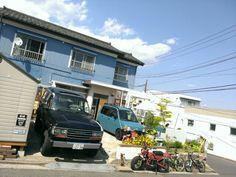 My home. Landcruiser ,move,motra,bike, Blue sky !