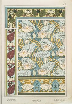 Eugène Grasset (Swiss, 1841-1917). La plante et ses applications ornementales. Water lily. Pl. 8. 1896.