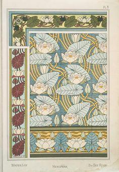 Eugène Grasset (Swiss, 1841-1917). La plante et ses applications ornementales. Water lily. Pl. 8. 1896.