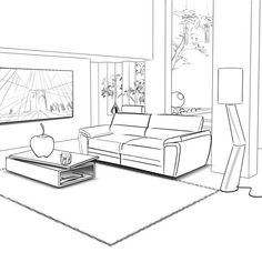 Drawing Step By Step Claude Michel - rough au trait Drawing Interior, Interior Design Sketches, Pencil Sketch Drawing, Drawing Step, House Colouring Pages, Drawing Furniture, Tv Unit Furniture, Perspective Drawing, Point Perspective