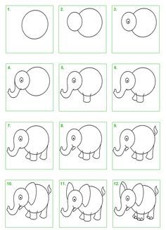 Elefante step by step Easy Drawings For Kids, Drawing For Kids, Art For Kids, Cartoon Drawings, Animal Drawings, Art Drawings, Drawing Lessons, Art Lessons, Directed Drawing