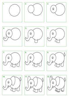 stappenplan olifant tekenen - Google zoeken