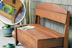 An outdoor bench makes a convenient place to plop down while you remove muddy boots. Plus it can hold less-than-attractive supplies | Photo: James Carriére | thisoldhouse.com