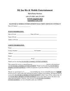 Dj Contract Template - Invitation Templates - d j contracts
