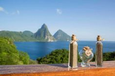 Jade Mountain's Celestial Terrace with stunning Pitons as the back drop