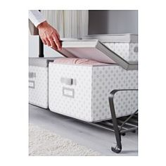 """IKEA - SVIRA, Box with lid, gray/white flowers, 15 ¼x19x11 """", , You can easily access the contents as the lid folds open.Easy to pull out and move as the box has handles.Protects your clothes and bed linen from dust.The label holder helps you organize and find your things."""