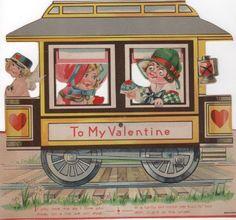 Vintage mechanical Valentine 1933. Train car. pull tab and eyes and arm move. Oversized collectible ephemera by PickleladyPapers on Etsy