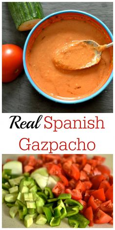 The perfect summer meal! Search no more for the perfect Gazpacho recipe, this one is it! Made the traditional Spanish way. The perfect summer meal! Search no more for the perfect Gazpacho recipe, this one is it! Made the traditional Spanish way. Mexican Food Recipes, Soup Recipes, Vegetarian Recipes, Dinner Recipes, Cooking Recipes, Healthy Recipes, Spanish Recipes, Dessert Recipes, Gourmet Desserts
