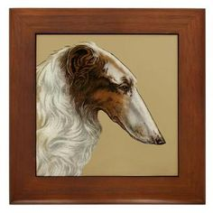 Framed Borzoi Head Tile - 15.00 Tile, Horses, Gifts, Animals, Mosaics, Presents, Animales, Animaux, Animal