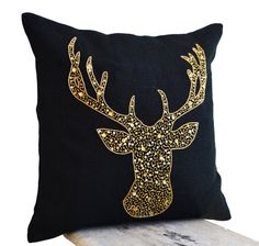 Deer Pillow covers -Animal pillow stag embroidered in gold sequin -Burlap pillows -Gold deer pillows - Gold pillows- Christmas pillows Black Throw Pillows, Gold Pillows, Burlap Pillows, Decorative Throw Pillows, Accent Pillows, Christmas Cushions, Christmas Pillow Covers, Deer Pillow, Sequin Pillow