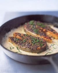 "Salmon Recipe - Peppered Salmon with Cream Whisky Sauce. Bridges served Scottish Salmon with Médoc Sauce in ""Guest of Honor"", but I couldn't find that recipe, so here is this one instead. Scottish Dishes, Scottish Recipes, Irish Recipes, Fancy Recipes, Yummy Recipes, Salmon Recipes, Seafood Recipes, Cooking Recipes, Skillet Recipes"