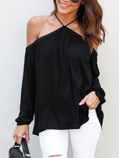 cc858880e18f0 Black Sexy Halter Neck Long Sleeves Blouse - US 15.95 -YOINS