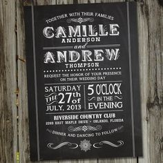 Vintage Retro Chalkboard Style PRINTABLE Wedding Invitation. from PartyMonkey via Etsy. This Wedding Invitation matches Vintage Retro Chalkboad Save the Date Announcement: https://www.etsy.com/listing/107296285/vintage-retro-chalkboard-style-printable