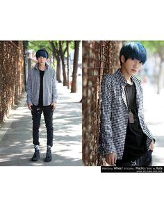 ABOKI  Colored Long-Sleeve Top Korean Brands, Ulzzang Boy, Asian Boys, High Collar, Purple Hair, Korean Fashion, Long Sleeve Tops, Thighs, Graphic Tees
