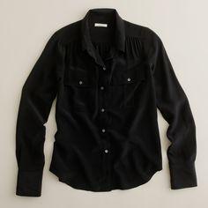 J.crew Blythe Blouse in Silk in Black