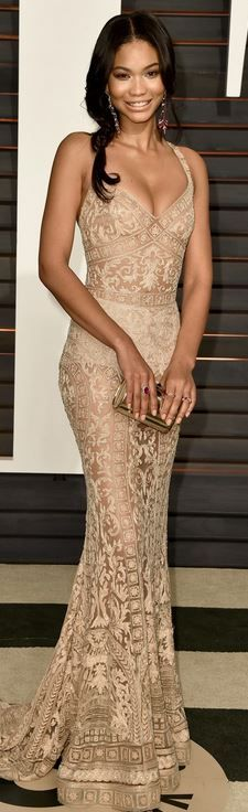 Chanel Iman 2015 Vanity Fair Oscar Party in Zuhair Murad Couture