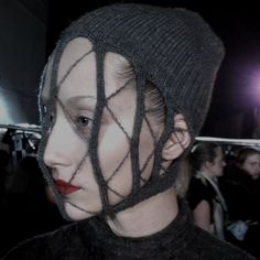 In detail, Rick Owens' webbed knit mask