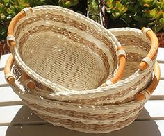 Wicker/Rattan Bread or Storage Curve Pole Handle Baskets in Dual Brown Storage Baskets, Wicker Baskets, Baked Goods, Rattan, Hand Weaving, Handle, Brown, Dining Table, Cream