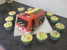 Fireman Sam Birthday cake with cupcakes