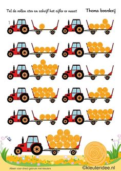 Make some kind of math game by stacking hay into the tractor. Using a real toy tractor and wagon would be cool. Preschool Printables, Preschool Math, Math Activities, Maths, Math Pages, Toddler Themes, Farm Unit, Learning Numbers, Farm Theme
