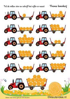 Tel de rollen stro, thema boerderij, kleuteridee , Preschool farm theme, free printable.