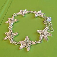 Silver Starfish Bracelet by joytoyou41 on Etsy, $28.00