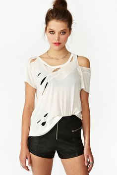 Destroyed Tee - White   $24 (On Sale Was 48 Dollars)