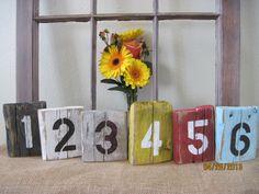 Pöytänumerointi. Rustic table numbers.