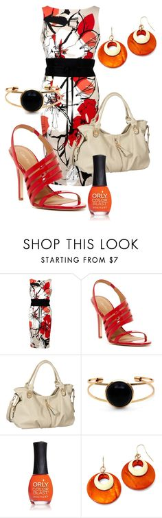 """""""Orange, red, black and white dress #988"""" by highheelsandhotflashes ❤ liked on Polyvore featuring Calvin Klein, Melie Bianco, ORLY and Mixit"""
