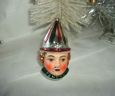 Vintage Christmas Ornament ~ Mercury Glass Court Guard Jester Head