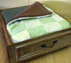 Green Pet Bed Upcycled from a Vintage Drawer and Sweaters - OOAK. $54.00, via Etsy.