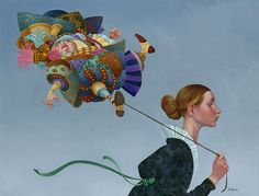 Poofy  Guy on a leash by James C. Christensen $160.00 Print size: 20 x 15 http://www.jameschristensen.com/prints.htm#prints