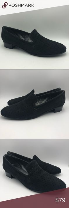 Stuart Weitzman Black Suede Perforated Loafers Super Beautiful Stuart Weitzman Suede Loafers in great pre owned condition. Soft movable black suede. Heels and soles in great condition!! Minor wear. See all pics for condition. MSRP $425 Size: 7 Material: Suede Color: Charcoal Black Heel Height: Flats Stuart Weitzman Shoes Flats & Loafers Suede Loafers, Suede Heels, Loafers Men, Loafer Flats, Black Heels, Black Suede, Stuart Weitzman, Charcoal Black, Oxford Shoes