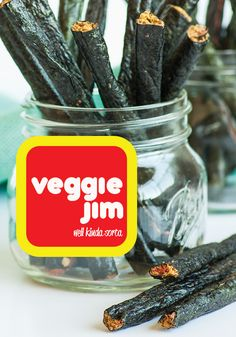 These meatless power wrap snacks are a popular vegan snack food—like a vegan slim jims. These Veggie Jim recipe is packed with flavor and nutrients. Raw Vegan Recipes, Vegan Snacks, Vegan Vegetarian, Healthy Snacks, Vegetarian Recipes, Snack Recipes, Cooking Recipes, Vegan Beef, Jar Recipes