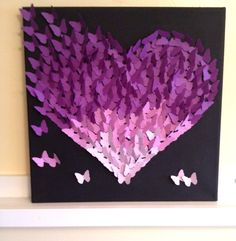 3D Butterfly Wall Art Purple Ombre Classic by TheCoralCanopy
