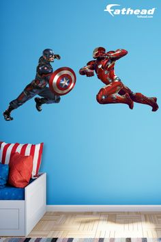 Captain America and Iron Man will face off in Civil War! Get inspired to face the battles in the modern world with our Superhero vinyl removable wall decals from Fathead. http://www.fathead.com/heroes/captain-america/captain-america-iron-man-captain-america-civil-war-wall-decal/ | DIY Kids Bedroom Wall Art Decor