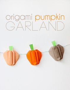 Origami Pumpkin garland for Haloween or Thanksgiving