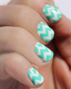 Mint Chevron Nail Wraps by SoGloss on Etsy Mint Chevron Nails, Chevron Nail Designs, Chevron Art, New Nail Designs, Gel Nails, Manicure, Nail Polish, Cute Nails, Pretty Nails