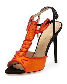 Charlotte Olympia Elsa Lobster T-Strap Sandal, Coral/Black - Neiman Marcus lobster shoes for the low price of 1,495.00