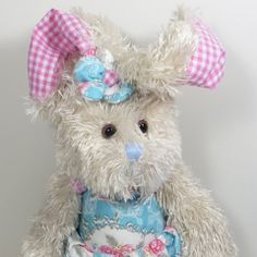 Vintage Rose Rabbit Soft Toy - Blue - French Pear Gifts